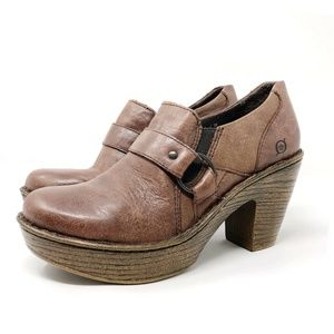 Born Brown Leather Buckle Platform High Heel Clogs